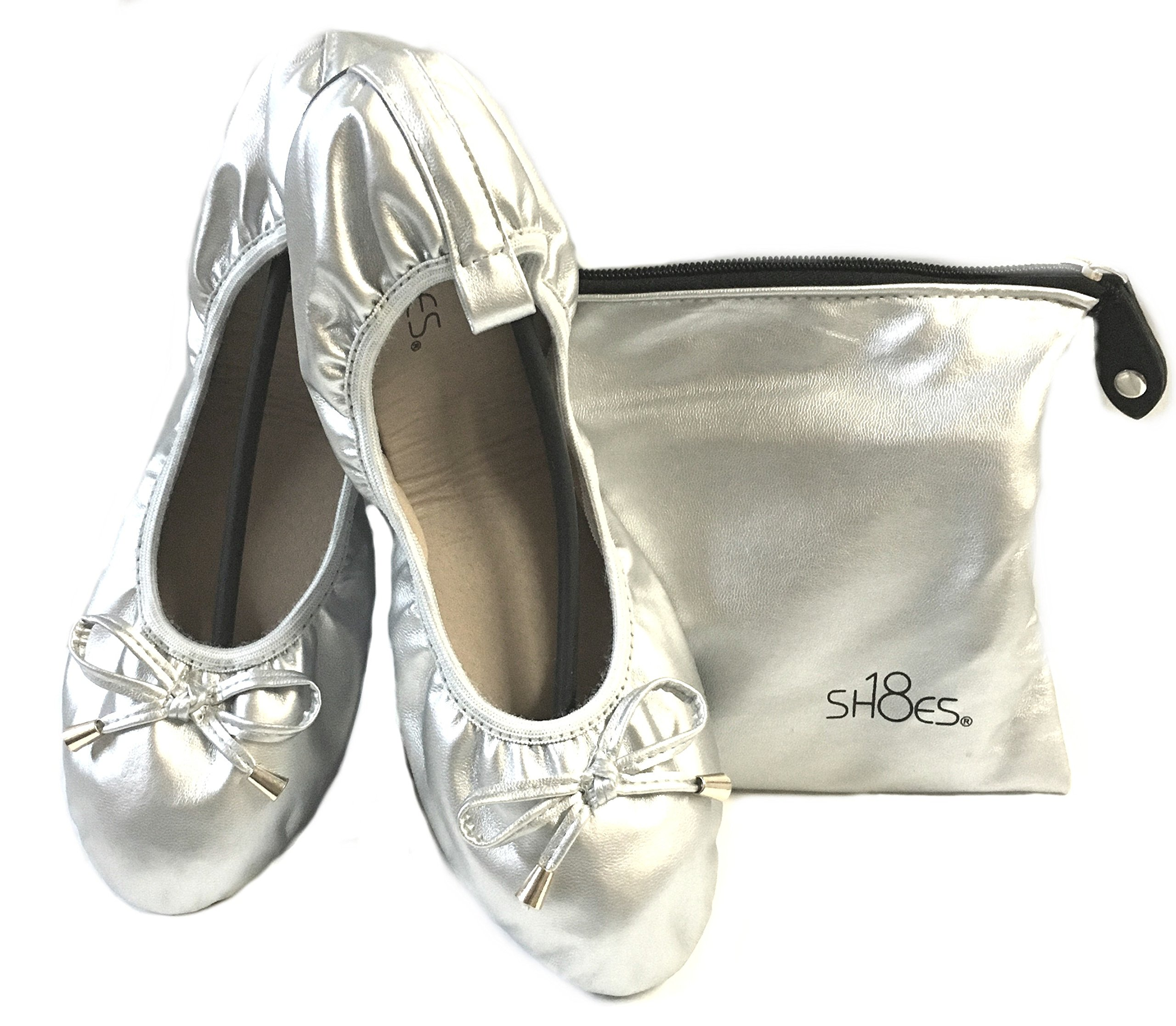Shoes 18 Women's Foldable Portable Travel Ballet Flat Shoes w/Matching Carrying Case 1180 Silver 5/6