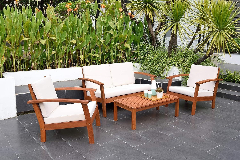Amazonia Prescott Patio 4-Piece Conversation Set   Durable Eucalyptus with Natural Finish, White