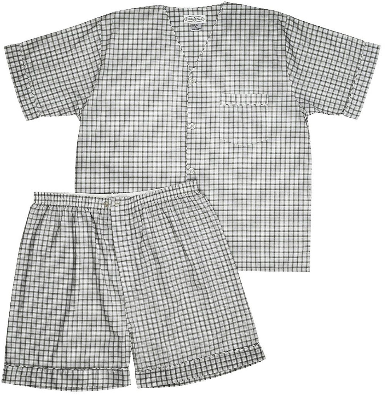 Men's Woven Pajama V-Neck Sleepwear Short Sleeve Shorts and Top Set, Sizes S/4XL -Gray Plaids - Large