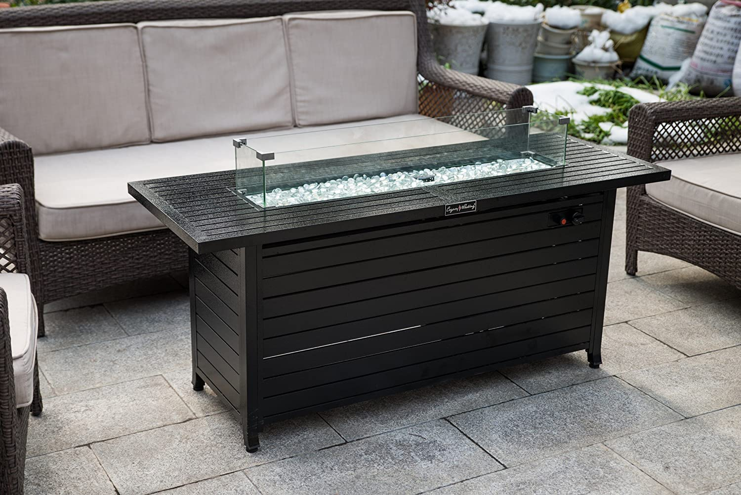 LEGACY HEATING Extruded Aluminum Rectangular Fire Table with Glass Wind Guard, with Cover and Table Lid