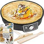"Crepe Maker Machine (Lifetime Warranty), Pancake Griddle – Nonstick 12"" Electric"