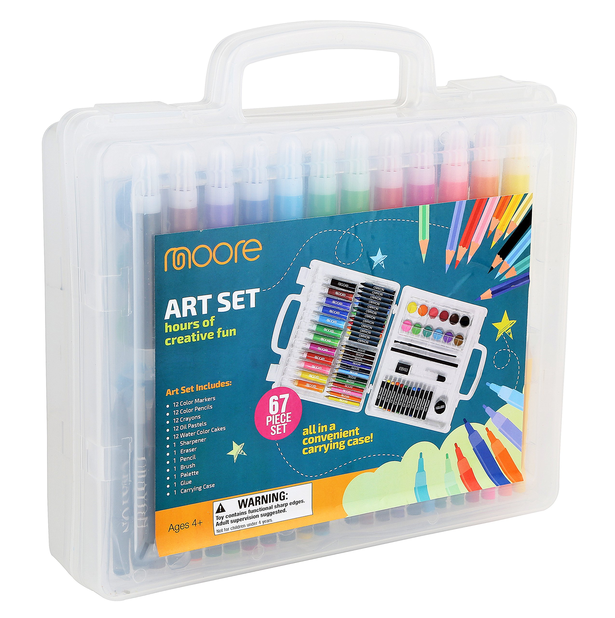 Moore: Deluxe 67 Piece Art Set with Clear Plastic Creativity Case kit with wonderful design kid's art set