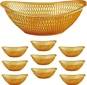"Large Plastic Rose Gold Bread Baskets - 10pk. Reusable 12"" Oval Food Storage Basket - Elegant Modern Décor for Kitchen, Restaurant, Centerpiece Display - by Impressive Creations"