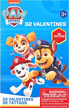 PAW PATROL 32 VALENTINE CARDS W//35 TATTOOS~FOR AGES 3+~NEW IN PACKAGE