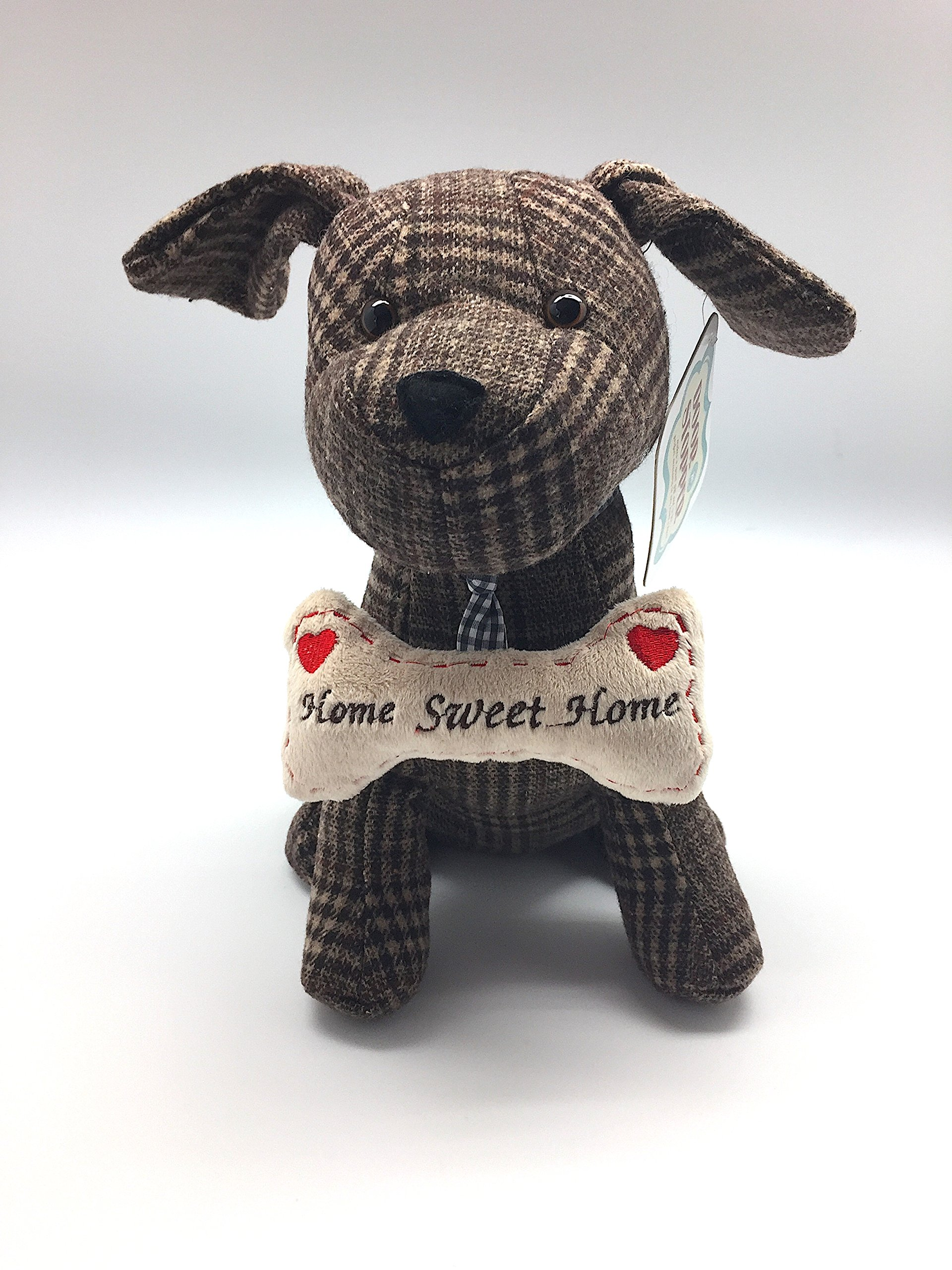 Animal Brown Puppy Dog Pet Lovers Door Stopper: Adorable Weighted Plaid Puppy with Bone Gift Home Decoration