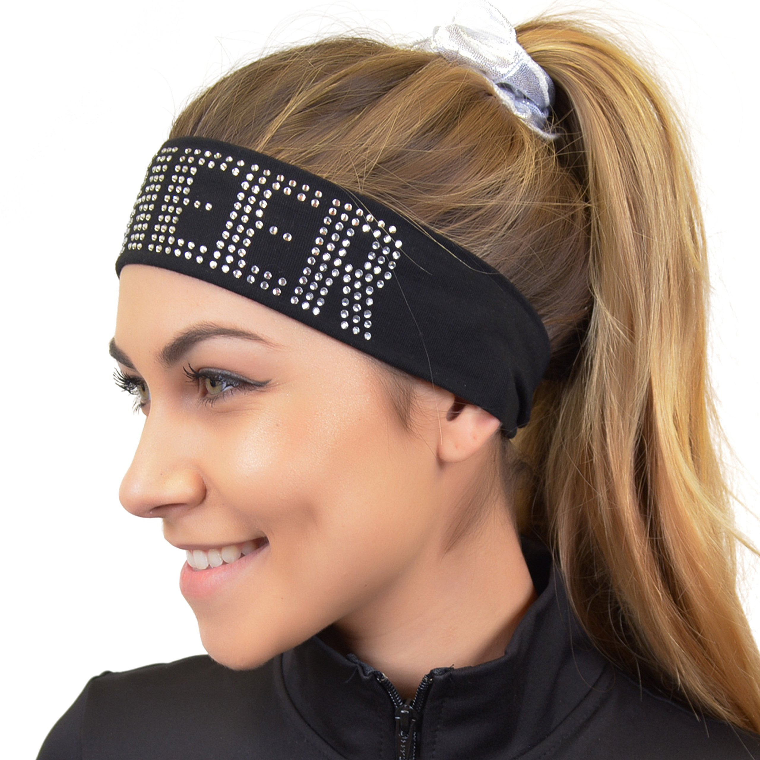Stretch Is Comfort Girl's CHEER Rhinestone Wide Cotton Headband Black by Stretch is Comfort (Image #2)