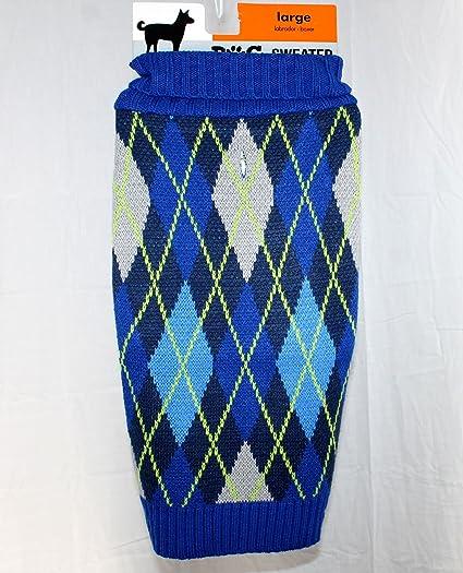 Amazon Com Blue Green Gray Argyle Dog Sweater Knit Turtle Neck