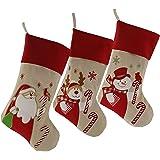 WEWILL marque Lovely Noël bas Ensemble de 3 Santa, renne, bonhomme de neige Xmas personnage en 3D de peluche en lin pendentif Tag Knit frontière, 17-Inch/ 45CM