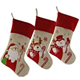 Amazon Price History for:Wewill Lovely Christmas Stockings Set of 3 Santa, Reindeer, Snowman Xmas Character 3D Plush Linen Hanging Tag Knit Border 17-Inch (3)