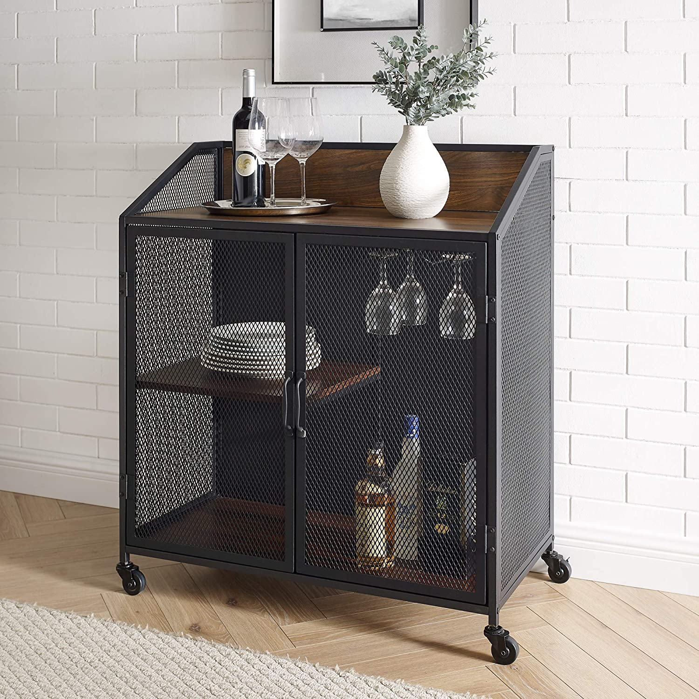 Walker Edison Industrial Wood and Metal Bar Cabinet with Wheels Wine Glass and Bottle Kitchen Storage Shelf, 33 Inch, Dark Walnut