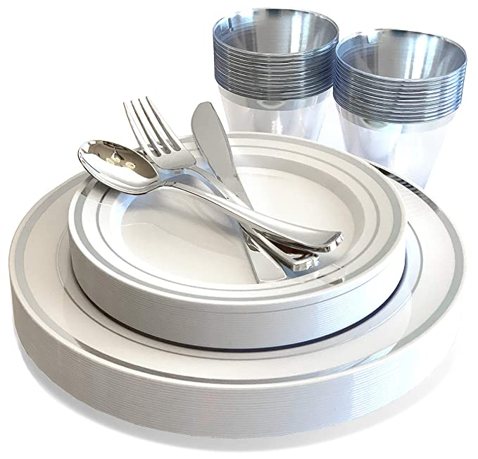 25 Guest Premium Silver Plastic Dinnerware Set | Heavy Duty & Beautiful 150 Pc Set includes Dinner Plates, Dessert Plates, Cups & Silverware | Ludere Elegant Disposable Dinnerware & Cutlery