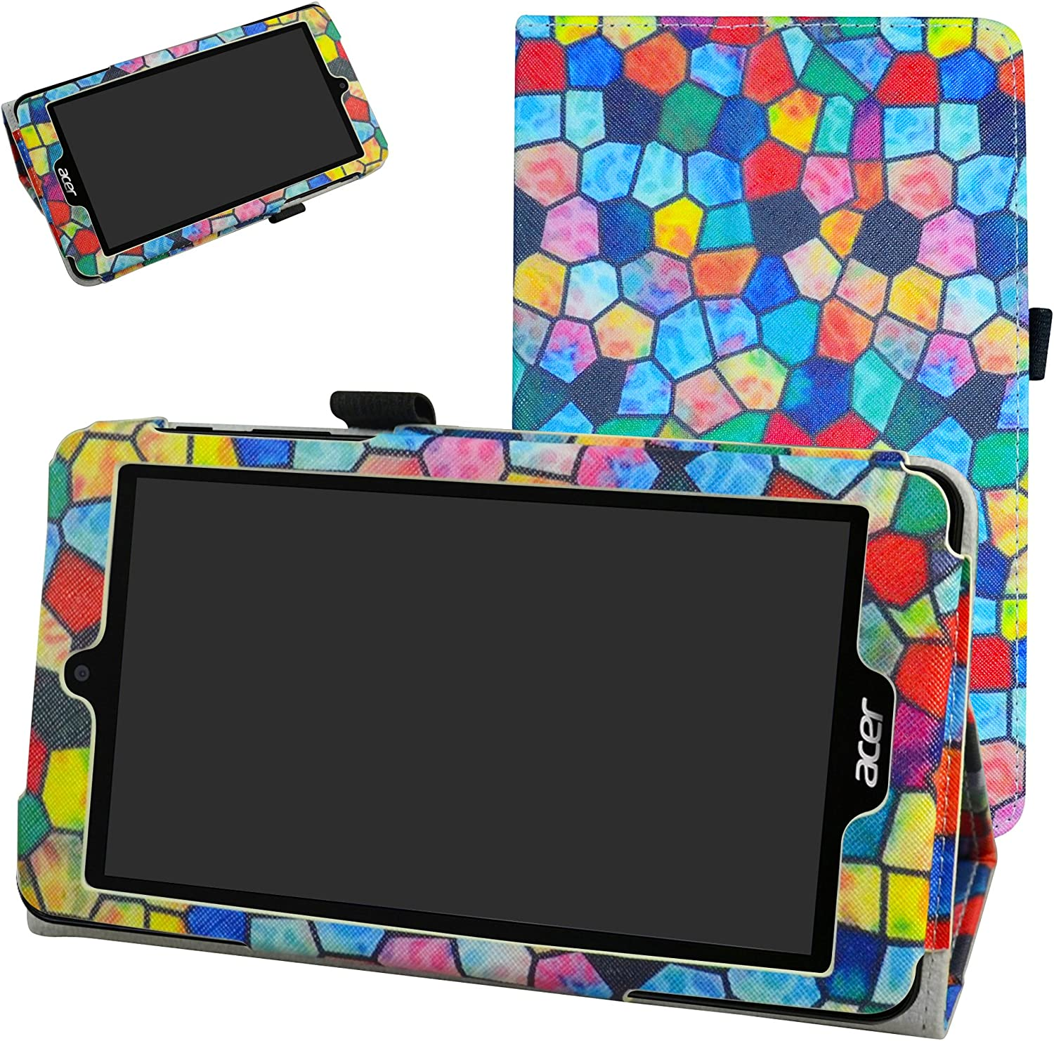 """Acer B1-780 / B1-790 Case,Mama Mouth PU Leather Folio 2-Folding Stand Cover with Stylus Holder for 7"""" Acer Iconia One 7 B1-780 / Iconia One 7 B1-790 Android Tablet,Stained Glass"""
