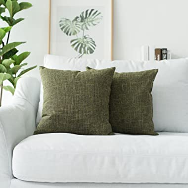 Kevin Textile Textural Faux Linen Throw Cushion Cover Pillow Covers Shams for Couch, Invisible Zipper, 45x45CM(Set of 2, Peridot Green)