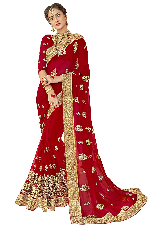 Triveni Georgette Red Wedding Embroidered Traditional Sarees Triveni Sarees TSNPP5903