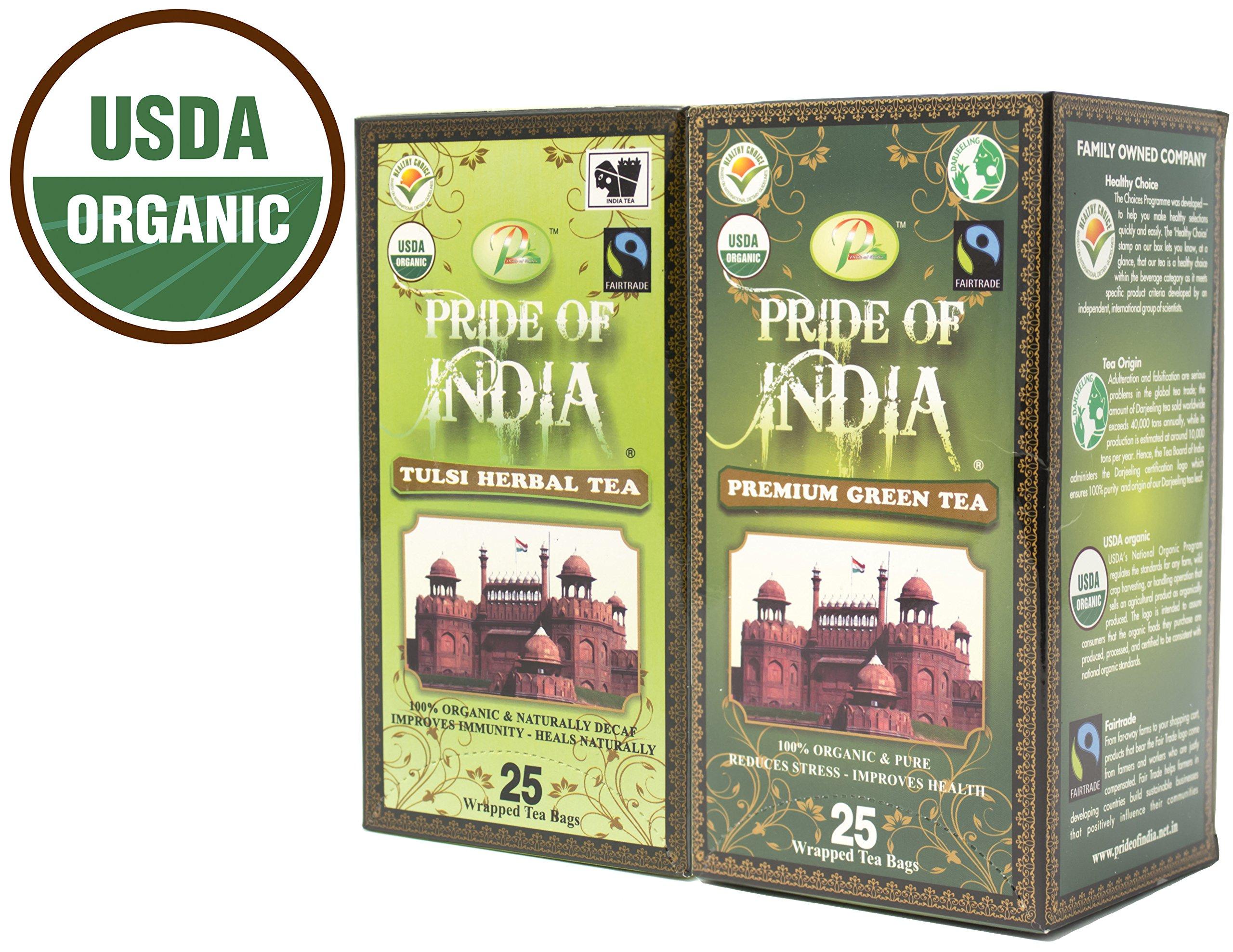 Pride Of India - Organic Healing Tea Combo Pack - Tulsi/Holy Basil & Green Tea