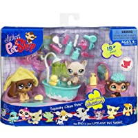 Littlest Pet Shop Themed Playpack - SQUEAKY CLEAN PETS with 3 EXCLUSIVE Pets