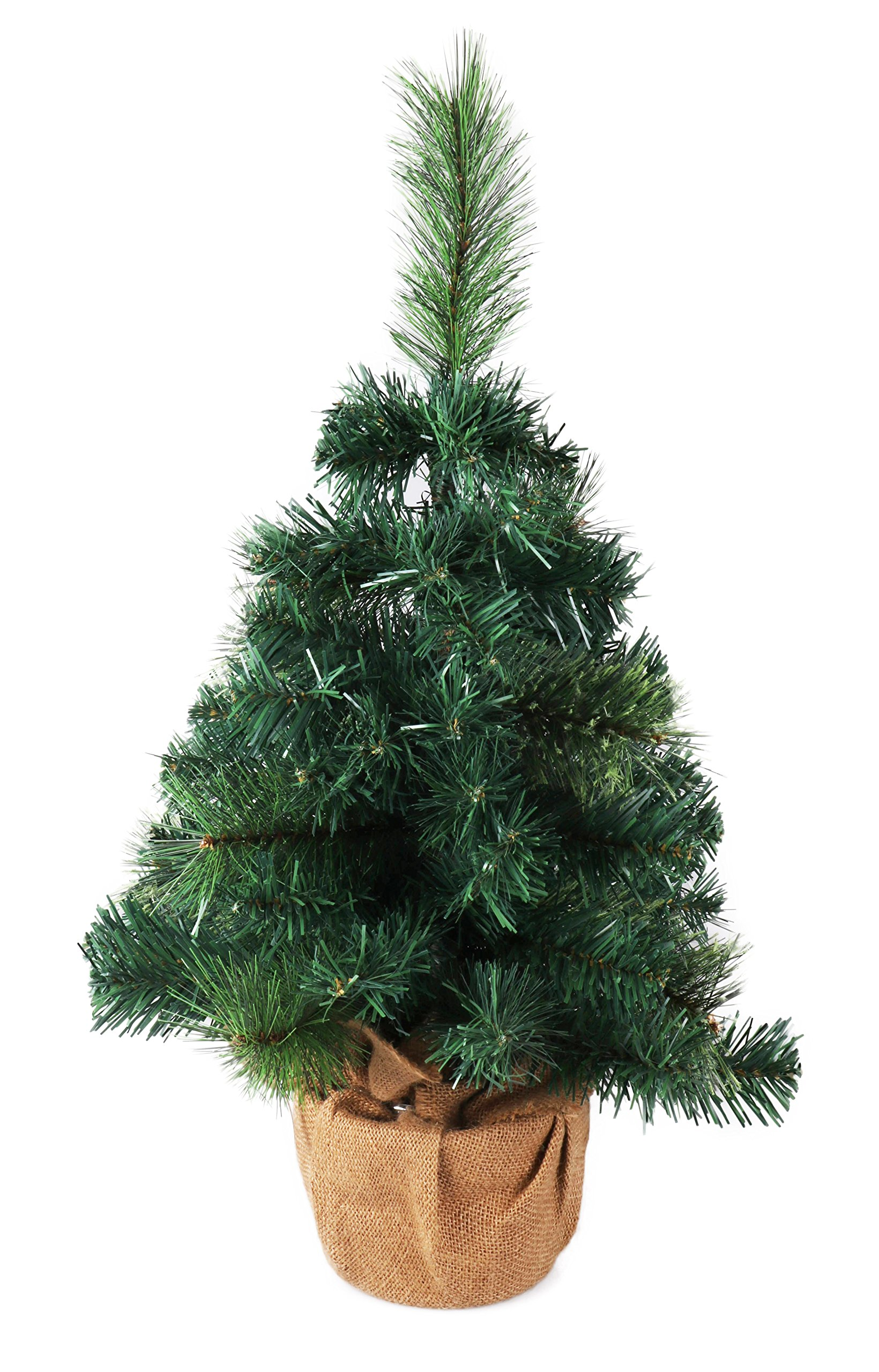 Mini Artificial Christmas Tree with Burlap Base by Clever Creations | Best Choice Christmas Decoration for Table and Desk Tops | Small 24'' Tall Christmas Pine Tree Perfect for Your Home or Office