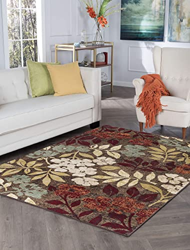 Tayse Kalea Brown 8×10 Rectangle Area Rug