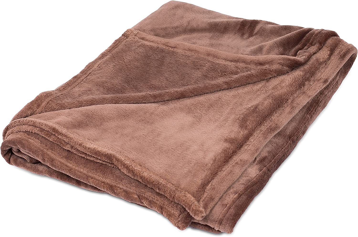 BirdRock Home Internet's Best Plush Throw Blankets - Café (Brown) - Ultra Soft Couch Blanket - Light Weight Sofa Throw - 100% Microfiber Polyester - Easy Travel - Twin Bed - 66 x 90