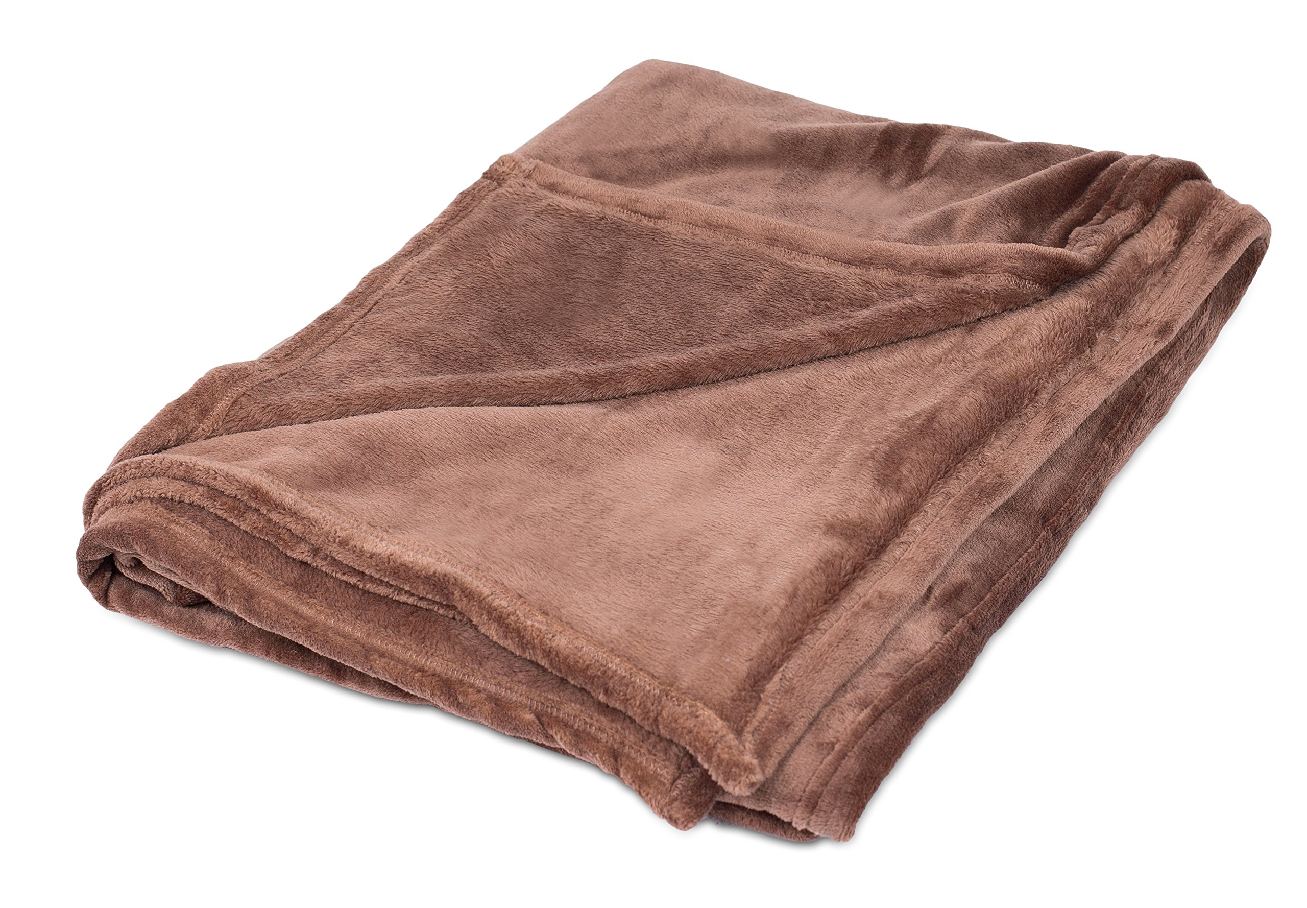Internet's Best Plush Throw Blankets | Café (Brown) | Ultra Soft Couch Blanket | Light Weight Sofa Throw | 100% Microfiber Polyester | Easy Travel | Twin Bed | 66 x 90