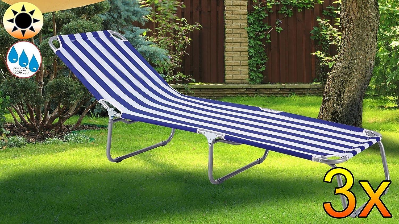 3x Liege, Sonnenliege, Blau Weiss Gestreift, PREMIUM Relaxliege,  Gartenliege Extrem Wetterfest, Klappbar, Tragbar, Seewasserfest, Hochwertig  Bequem Und ...