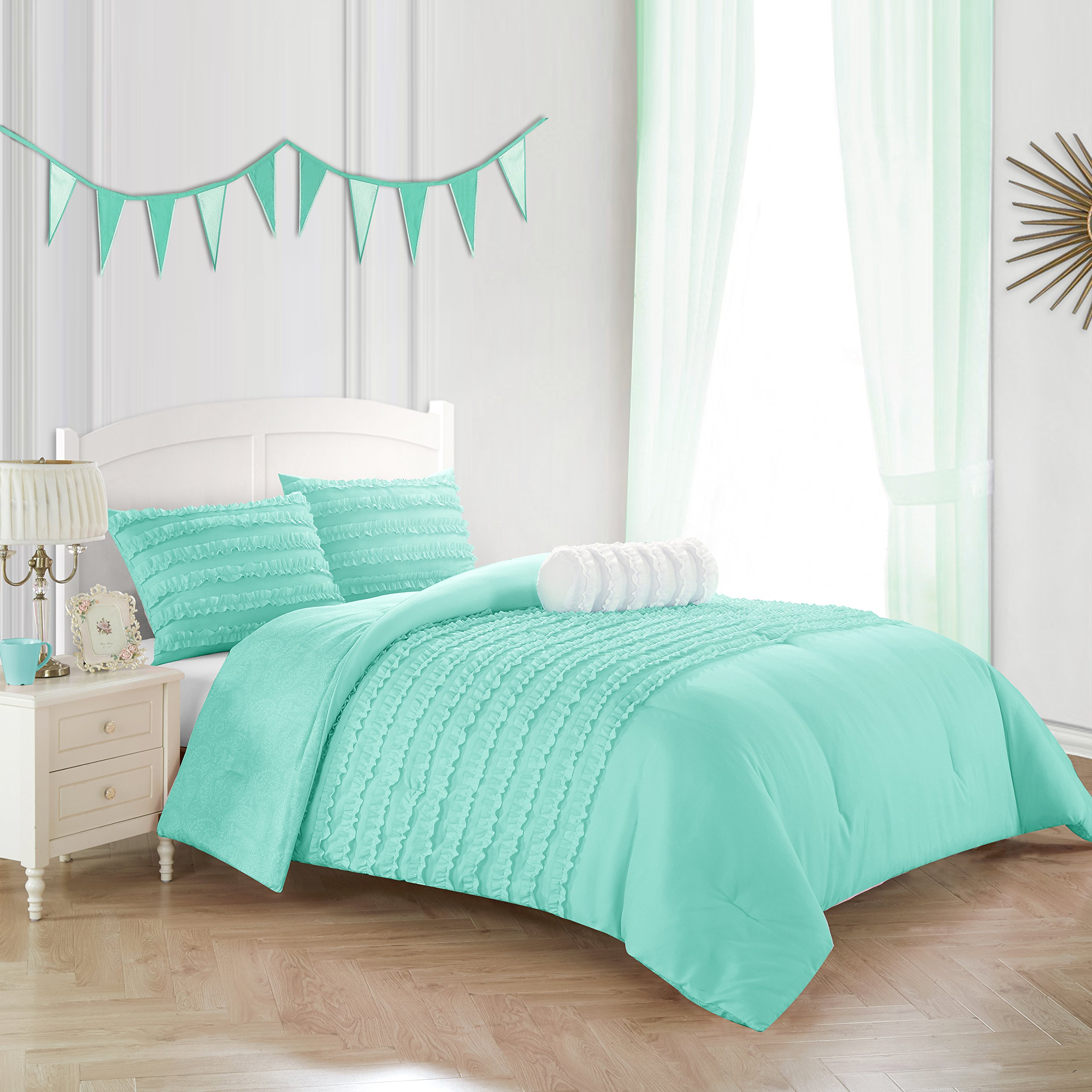 Heritage Kids Rhea Textured Ruffle Comforter Set, Twin, Mint