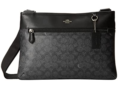 8a5248fde ... low cost coach spencer signature print nylon crossbody black dark denim  bag new 0f175 9619d