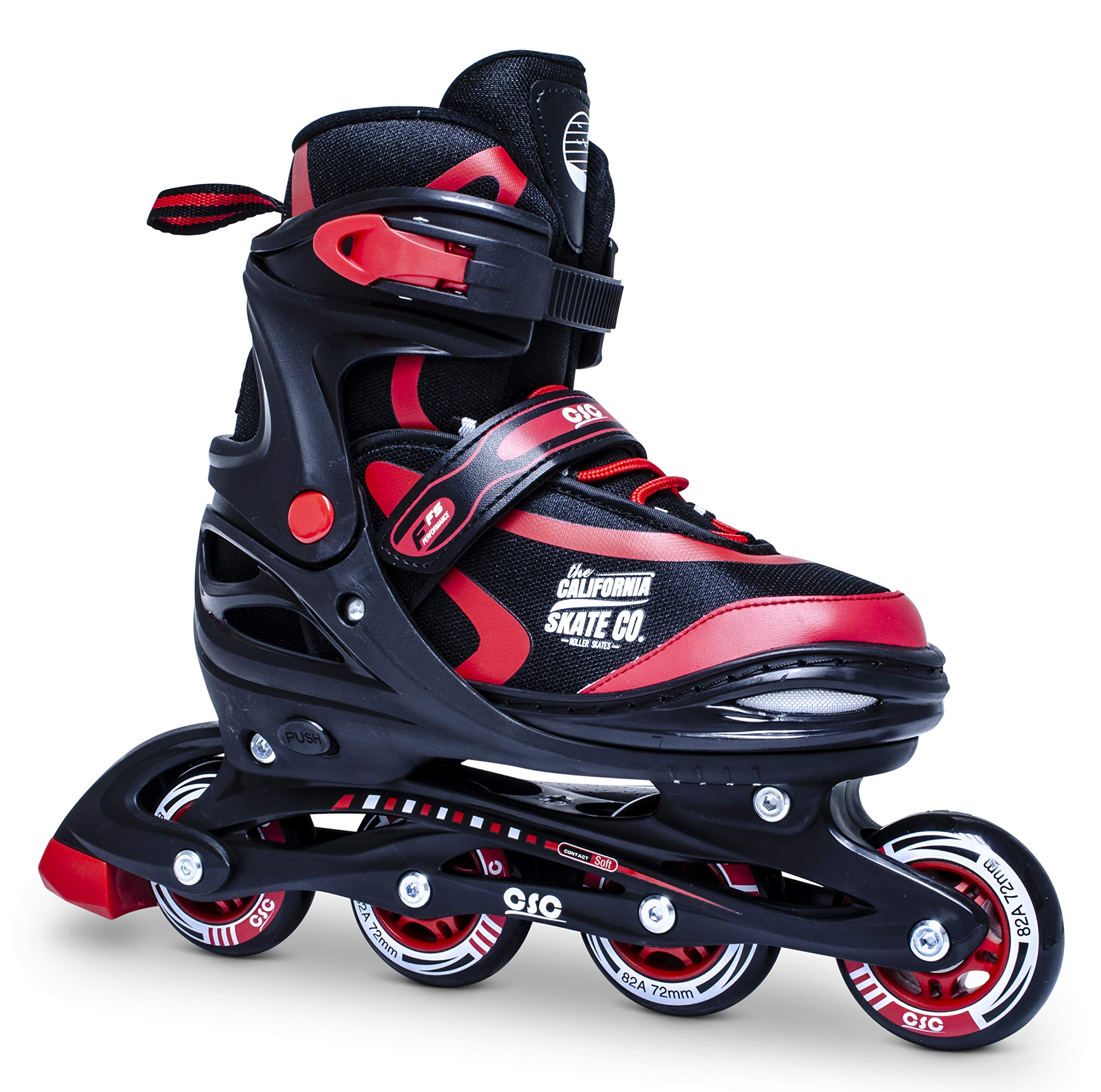 California Skate Co Zuma Kids Adjustable Inline Skates (Black and red, J10-J13)