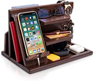 TESLYAR Wood Phone Docking Station Ash Key Holder Wallet Stand Watch Organizer Men Gift Husband Wife Anniversary Dad Birthday Nightstand Purse Father Graduation Male Travel Idea Gadgets