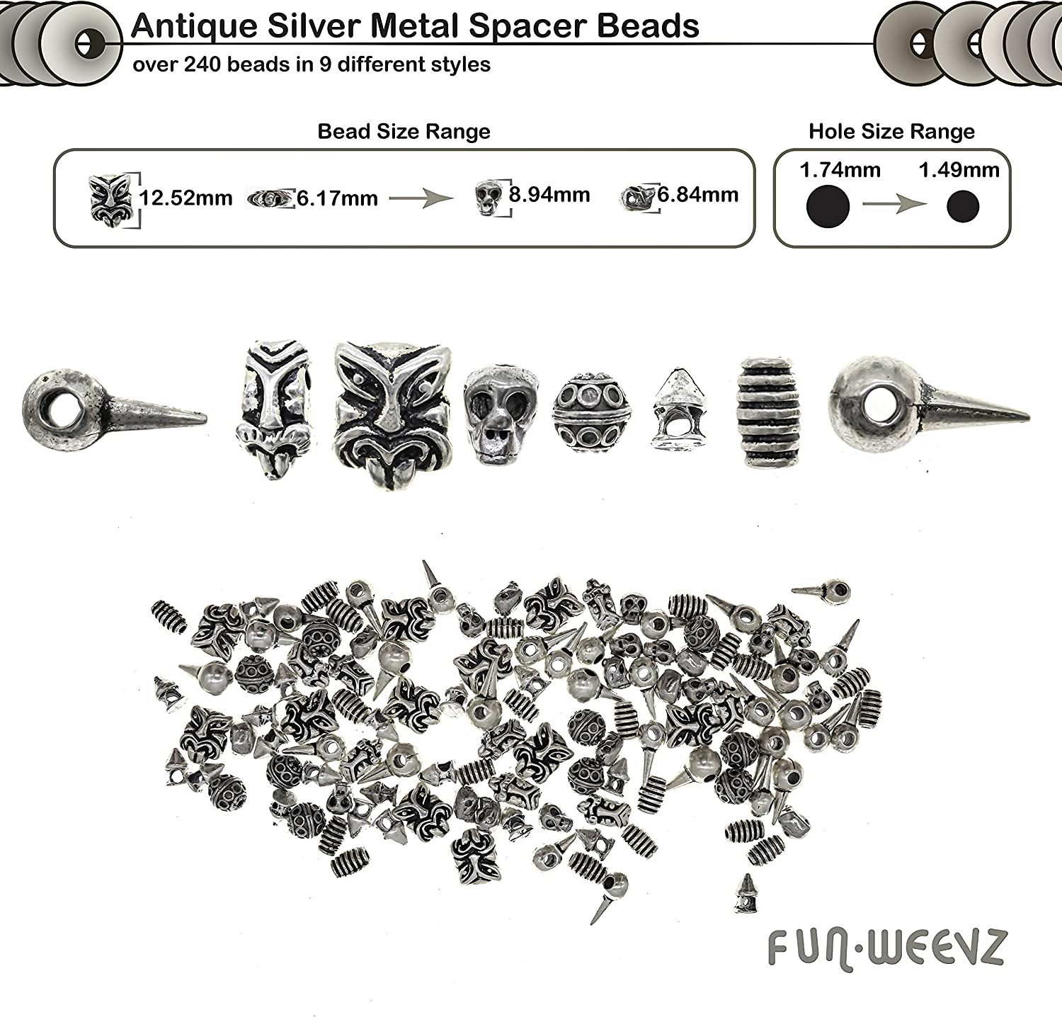 Bracelets Great for DIY Necklaces 8 Style Unique Antique Look Bulk Bead Assortment Over 650 PCs Tibetan and Bali Silver Metal Spacer Beads for Jewelry Making Supplies Kit for Adults