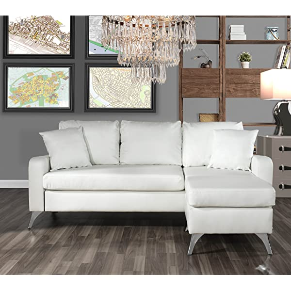 Divano Roma Furniture Bonded Leather Sectional Sofa - Small Space Configurable Couch (White)