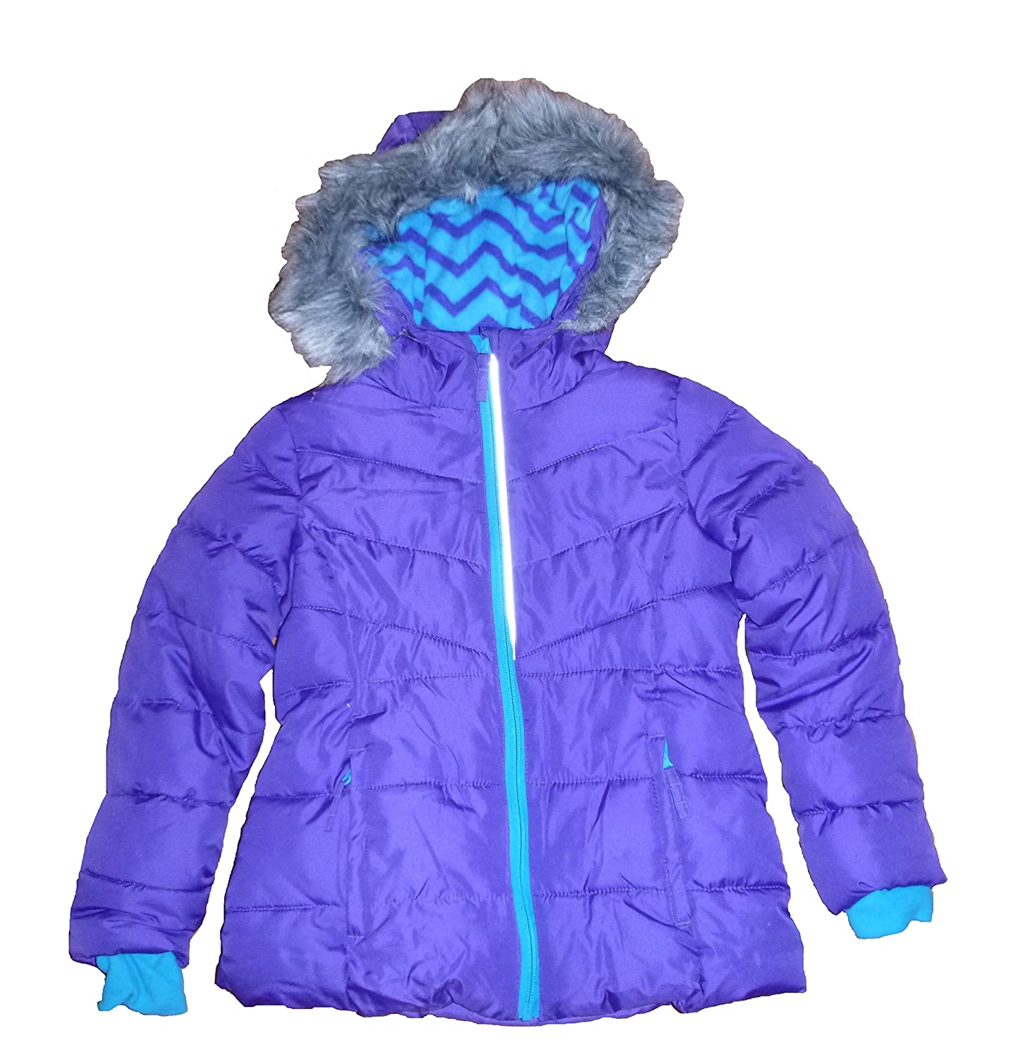 5c2d2971f Amazon.com  Falls Creek Girls Purple Lined Puffer Jacket Coat With ...