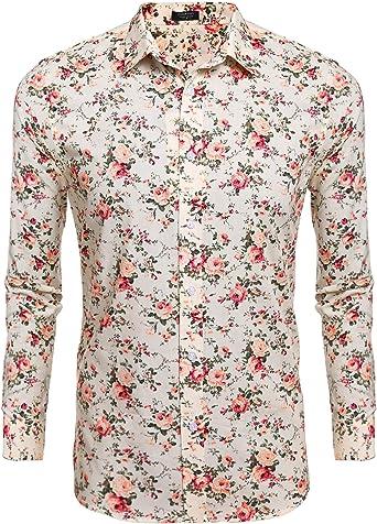 Coofandy Camisa Hombre Manga Larga Casual Estampado Regular Fit Beige XL: Amazon.es: Ropa y accesorios