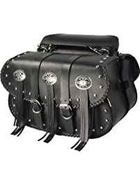 Dowco Willie & Max 58320-00 Warrior Series: Synthetic Leather Straight Motorcycle Saddlebag Set, Black, Universal Fit, 10...