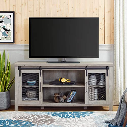 Home Accent Furnishings New 58 Inch Sliding Mesh Door TV Console with Grey Wash Finish