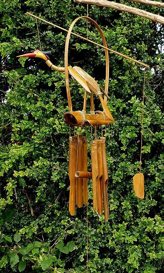 Sunlover - Campana de Viento de bambú y Coco para Colgar en el jardín, decoración de jardín de Comercio Justo Tallada a Mano, 60 cm BCW39-BNT: Amazon.es: Hogar
