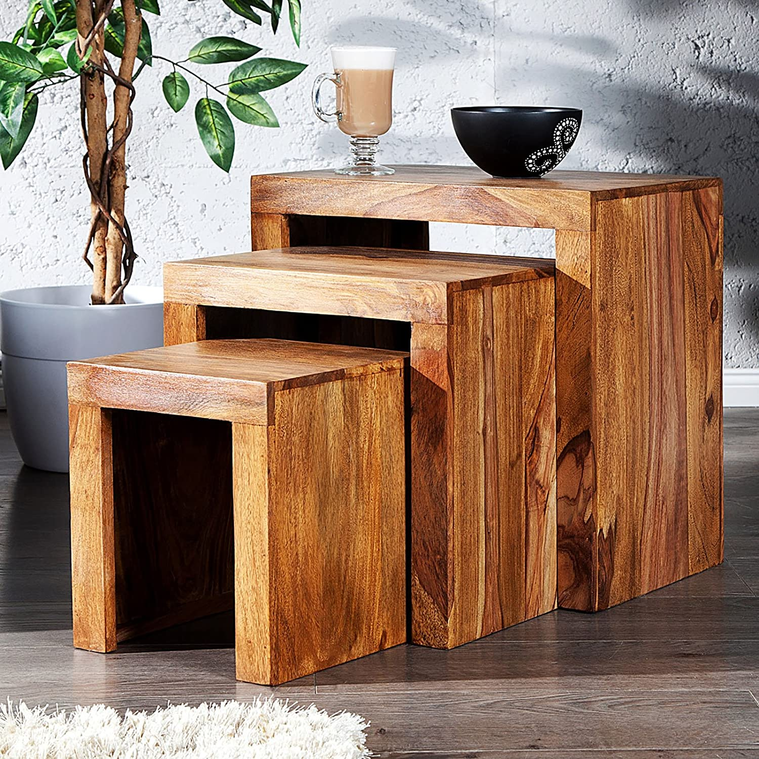 DESIGN DELIGHTS RUSTIC TABLE SET SHEESHAM 3 pcs sidetable made of massiv Shesham wood by xtadefactory
