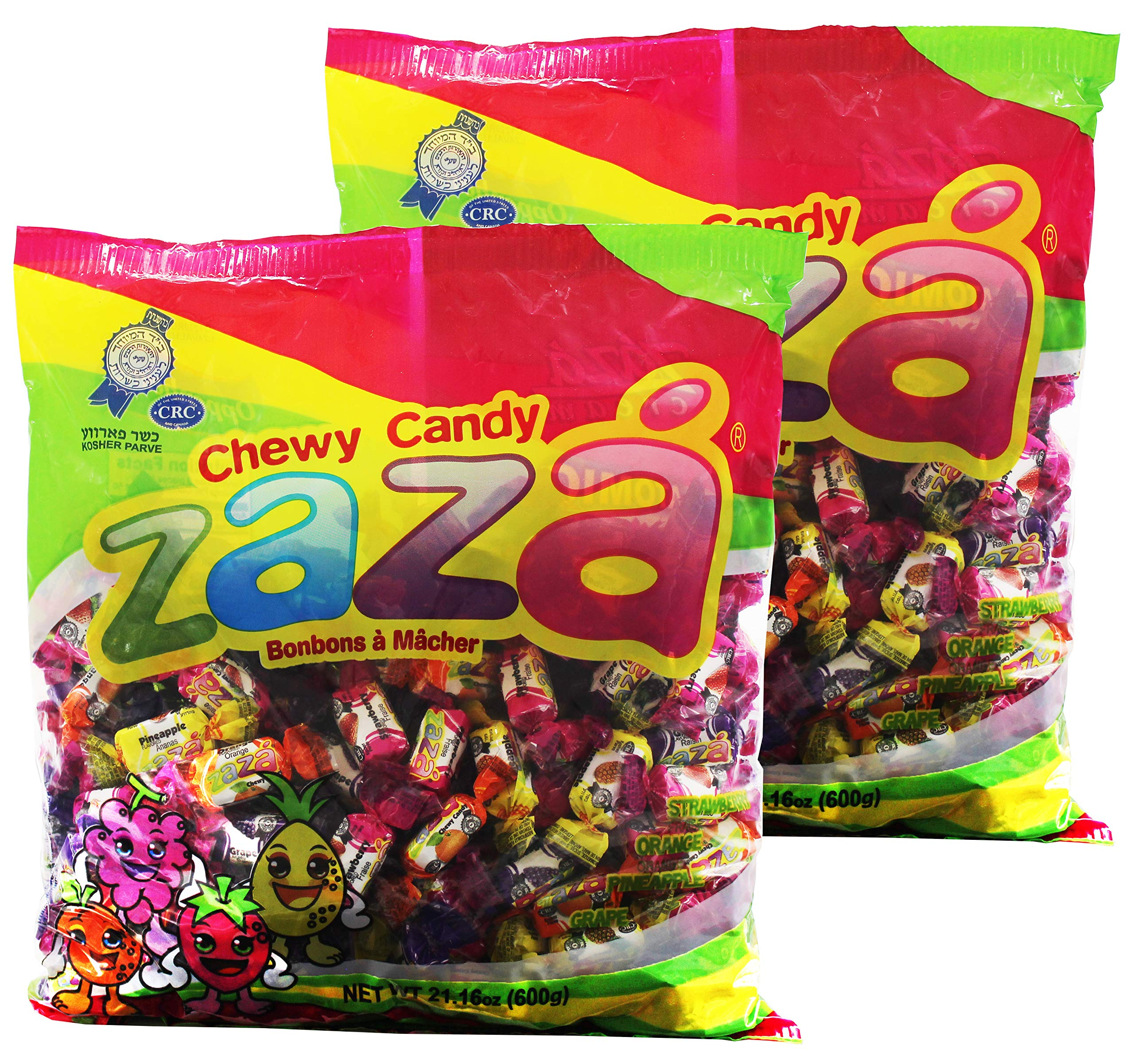 Zaza Assorted Bulk Chewy Candy, Colorful Flavorful Fruity Individually Wrapped Kosher Sweet candies, Halloween Trick or Treat, Variety Pack for Holiday Party, Valentines, Christmas, Thanksgiving, or Office Reception Desk As Seen BH Photo & Chase Bank