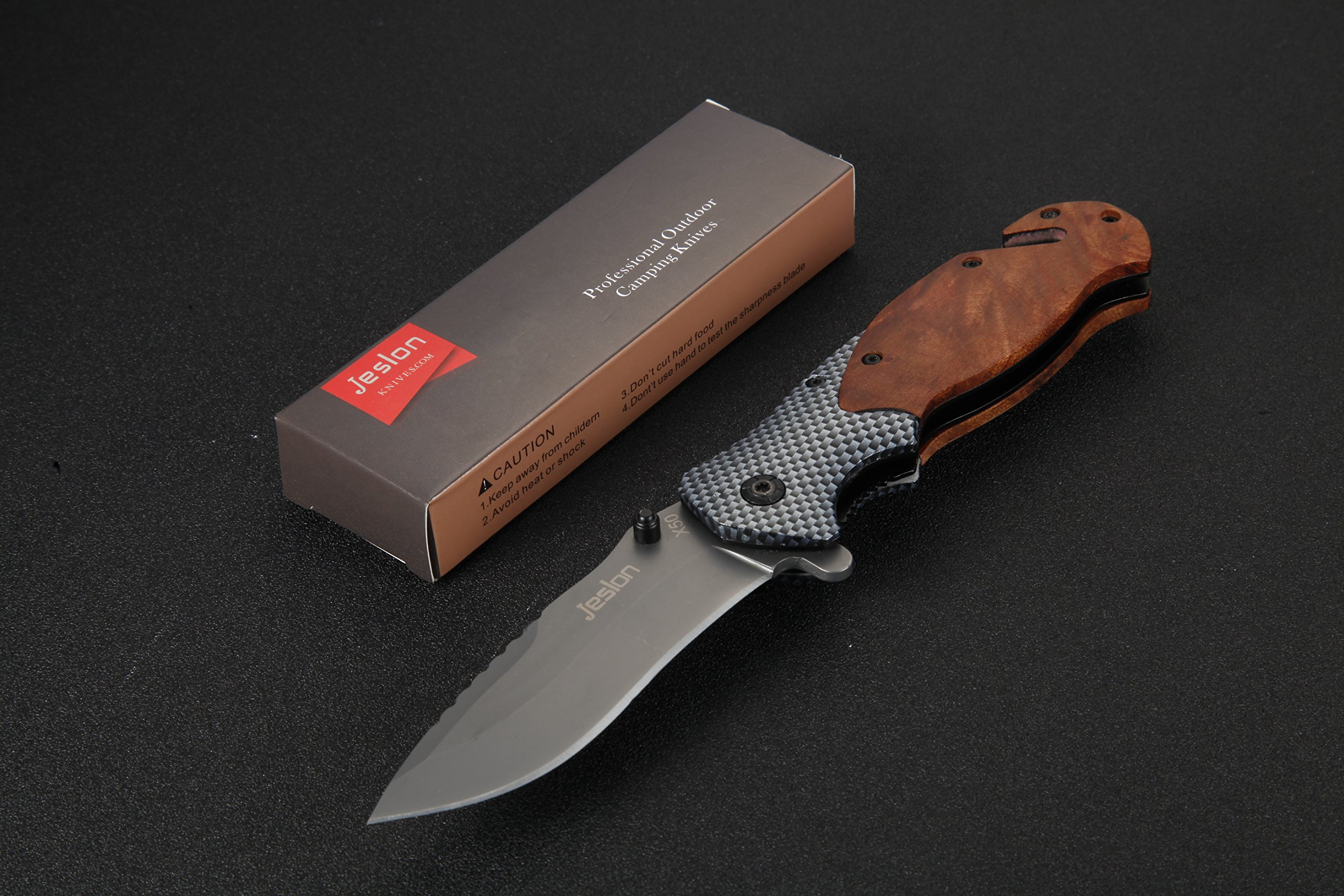 Jeslon Spring Assisted Opening Tactical Folding Pocket Knife, Wood Handle 440C 57HRC Blade Good for Camping Survival and outdoor Activities. by Jeslon (Image #2)