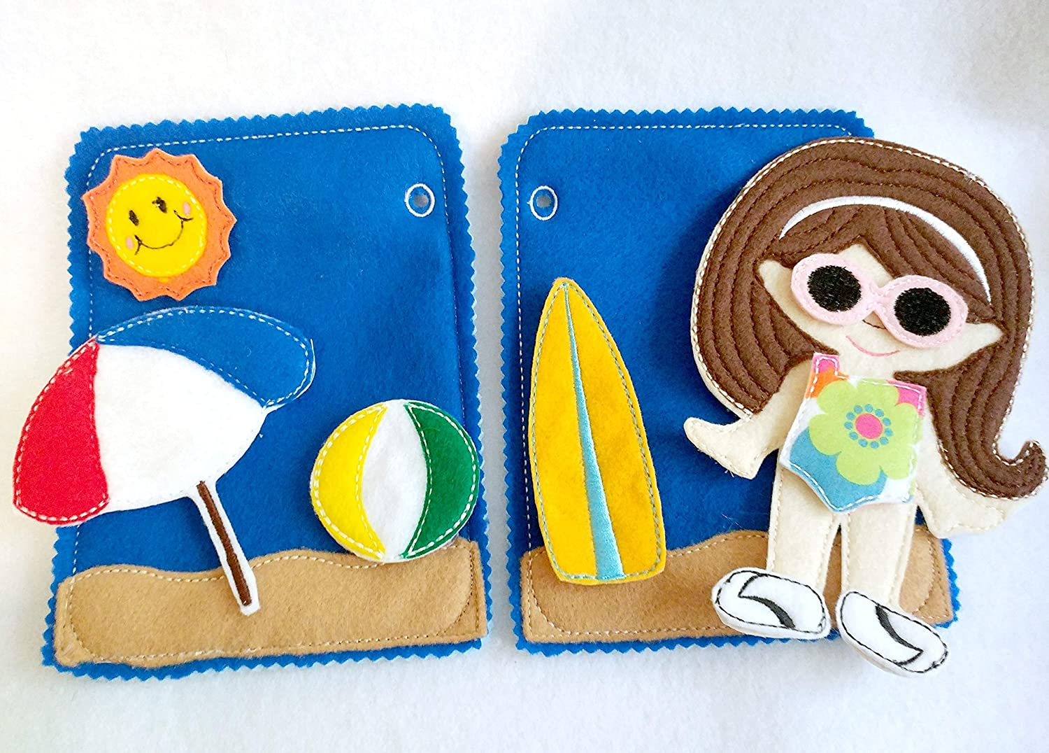 Childrens felt quiet book for toddler QB153 2 Beach pages with doll and 9 pieces