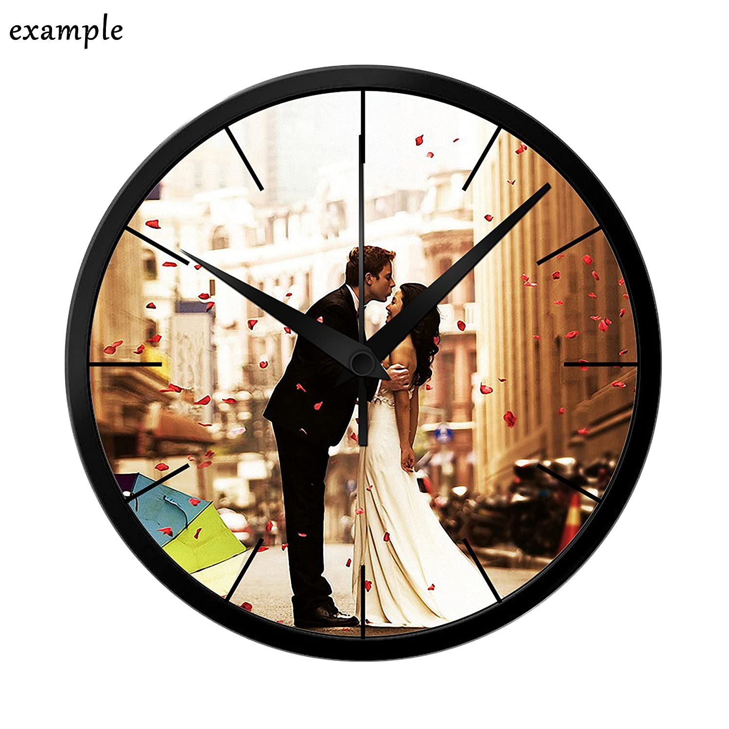 Leecum Customized Products-Add Your Design in the Wall Clock Silent Metal Non-Ticking 10 Inch or 12 Inch or 14 Inch White Black Silver Decorations for Office Kitchen Living Room Bedroom