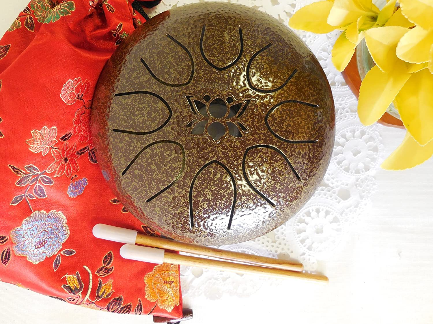 Tongue Drum Steel Hand Drum Gentle Healing Sound, Wuyou 7in UFO Lotus Symbol Musical Instrument Percussion, Brown