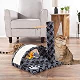 PETMAKER Cat Scratching Post- Adult Cat & Kitten Tree with Carpeted Base & Pole, Sisal Scratch Pad, Hanging Mouse & Fish Toys, Active Play Condo, Gray, Model Number: 80-PET6181