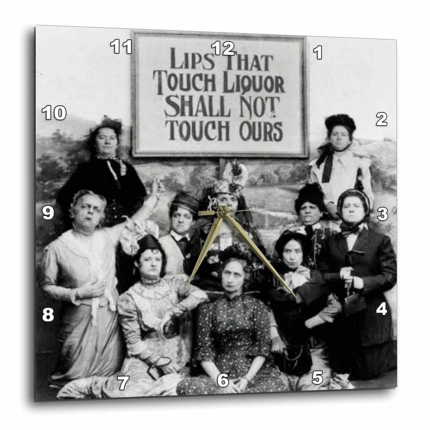 Humor Wall Clock Prohibition 13 by 13-Inch 3dRose dpp/_46926/_2 Lips That Touch Liquor Prohibition Poster
