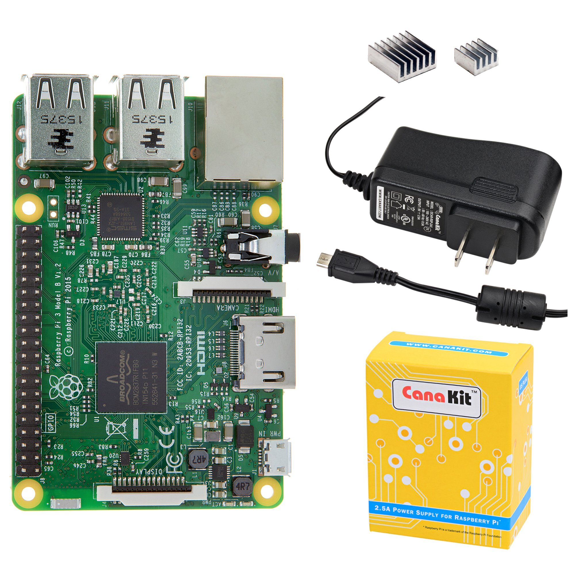 CanaKit Raspberry Pi 3 with 2.5A Micro USB Power Supply (UL Listed) by CanaKit
