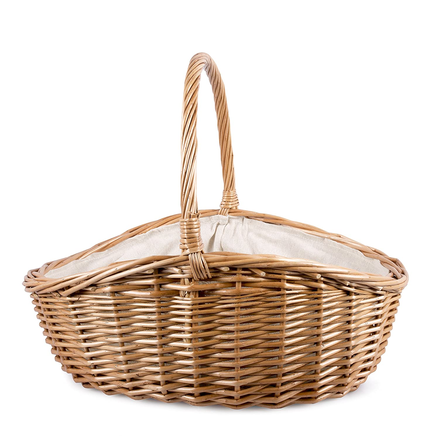 Lined High Handle Shopping Basket Home Decoration Storage Retail Display