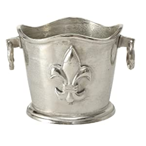 WHW Whole House Worlds Luxury Champagne Bucket Wine Cooler, French Flair, Fleur de Lis Crest, Hand Cast Aluminum, Old World Craft Finish, Up to 8 Bottles, 14 1/4 L x 11 1/2 W x 9 3/4 H Inches
