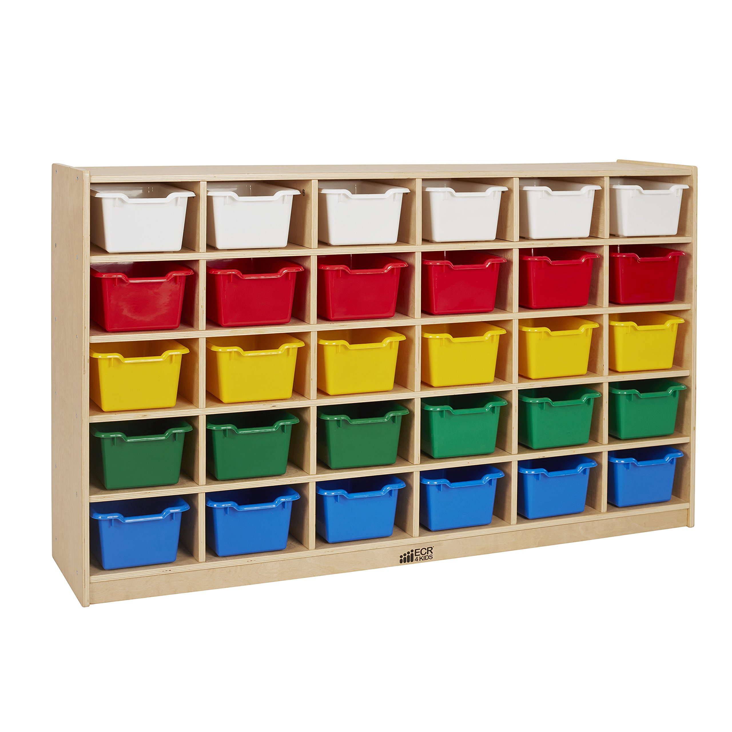ECR4Kids Birch 30 Cubby Tray Cabinet with 30 Scoop Front Bins, Assorted Colors