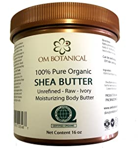 Certified Organic AFRICAN SHEA BUTTER from Ghana 16 oz | Unrefined, Raw, Ivory 100% Pure Body Butter | Skin & Hair Moisturizing, Nourishing and Healing Cream and Base For DIY Skin Care Recipes