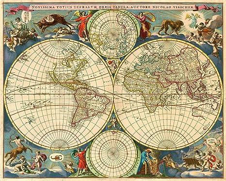 Amazon.com: Imán 1690s estilo vintage iluminado con mapa del ...